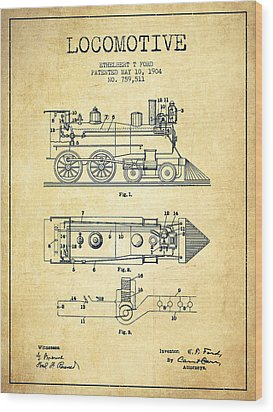 Vintage Locomotive Patent From 1904 - Vintage Wood Print by Aged Pixel