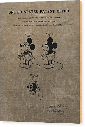 Vintage Mickey Mouse Patent Wood Print by Dan Sproul