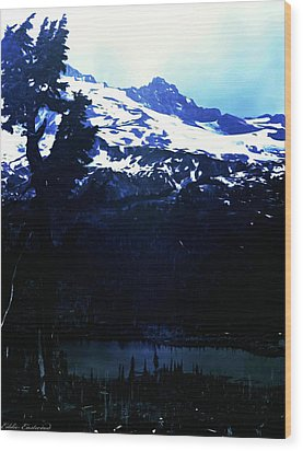 Vintage Mount Rainier With Reflexion Lake Early 1900 Era... Wood Print by Eddie Eastwood