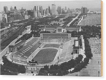 Vintage Soldier Field - Chicago Bears Stadium Wood Print by Horsch Gallery