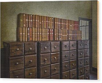 Vintage Storage Wood Print by Susan Candelario