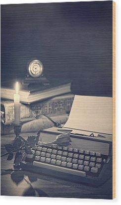 Vintage Typewriter Wood Print by Amanda Elwell