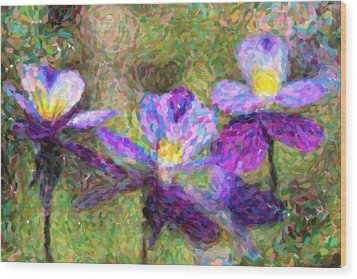 Violet Flowers Wood Print by Toppart Sweden