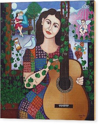 Violeta Parra Back At Seventeen   Wood Print by Madalena Lobao-Tello