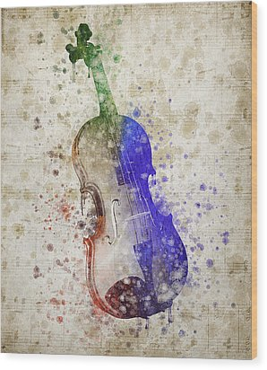 Violin Wood Print by Aged Pixel