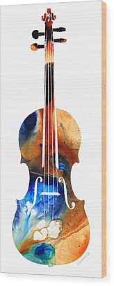 Violin Art By Sharon Cummings Wood Print by Sharon Cummings