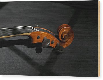 Violin In Shadow Wood Print by Mark McKinney