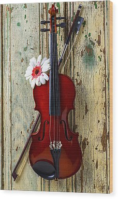 Violin On Old Door Wood Print by Garry Gay