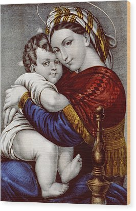 Virgin And Child Circa 1856  Wood Print by Aged Pixel