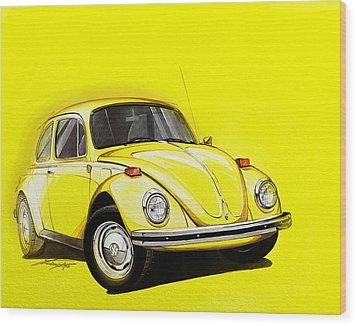 Volkswagen Beetle Vw Yellow Wood Print by Etienne Carignan