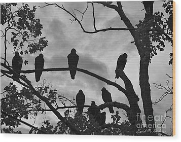 Vultures And Cloudy Sky Bw Wood Print by Dave Gordon