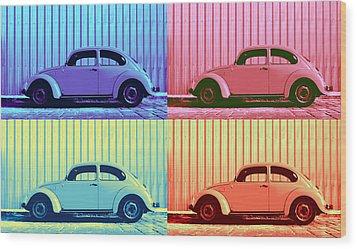 Vw Beetle Pop Art Quad Wood Print by Laura Fasulo