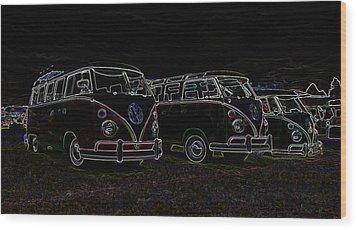 Vw Microbus Glow Wood Print by Steve McKinzie