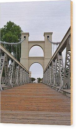 Waco Suspension Bridge Wood Print by Christine Till