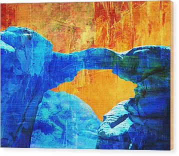 Wadi Rum Natural Arch 2 Wood Print by Catf