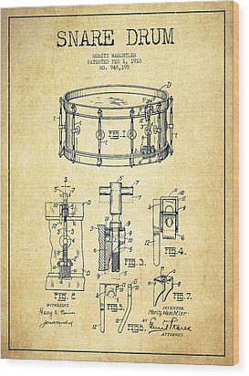 Waechtler Snare Drum Patent Drawing From 1910 - Vintage Wood Print by Aged Pixel