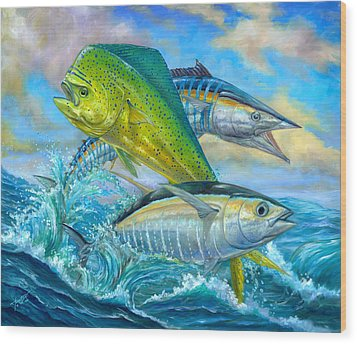 Wahoo Mahi Mahi And Tuna Wood Print by Terry  Fox