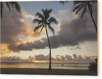 Waimea Beach Sunset - Oahu Hawaii Wood Print by Brian Harig