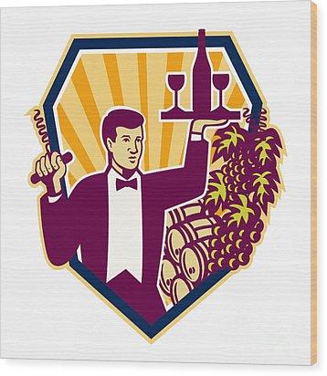 Waiter Serve Wine Glass Bottle Shield Retro Wood Print by Aloysius Patrimonio