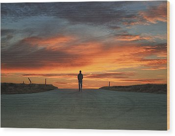 Walk Towards The Light Wood Print by Steven  Michael