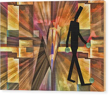 Walking Man Wood Print by Robert Maestas