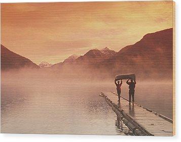 Walking On Dock Robe Lake  Sunrise Sc Wood Print by Michael DeYoung