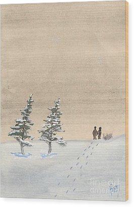 Walking Together Wood Print by Robert Meszaros