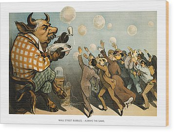 Wall Street Bubbles Always The Same Wood Print by Aged Pixel
