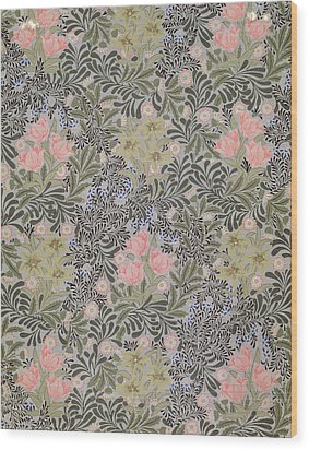 Wallpaper Design With Tulips Daisies And Honeysuckle  Wood Print by William Morris