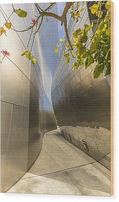 Walt Disney Concert Hall Scenery Wood Print by Angela A Stanton