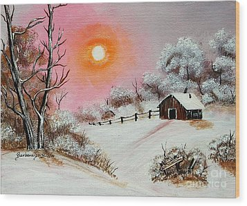 Warm Winter Day After Bob Ross Wood Print by Barbara Griffin