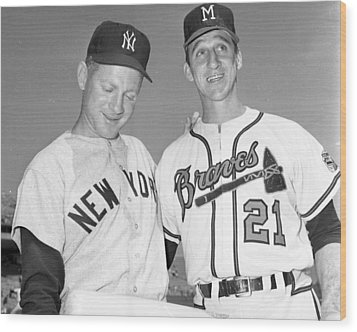 Warren Spahn With Whitey Ford Wood Print by Retro Images Archive