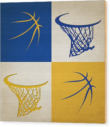 Warriors Ball And Hoop Wood Print by Joe Hamilton
