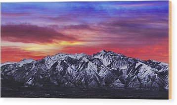 Wasatch Sunrise 2x1 Wood Print by Chad Dutson