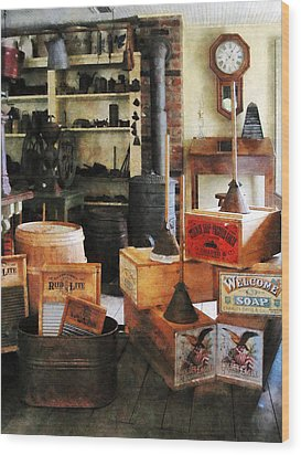 Washboards And Soap Wood Print by Susan Savad