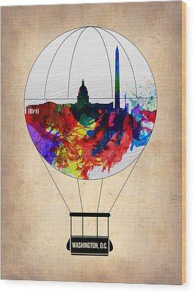 Washington D.c. Air Balloon Wood Print by Naxart Studio
