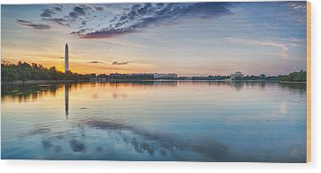 Washington Dc Panorama Wood Print by Sebastian Musial
