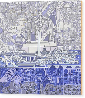 Washington Dc Skyline Abstract 3 Wood Print by Bekim Art