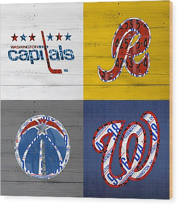 Washington Dc Sports Fan Recycled Vintage License Plate Art Capitals Redskins Wizards Nationals Wood Print by Design Turnpike