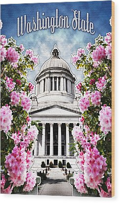 Washington State Capitol Wood Print by April Moen