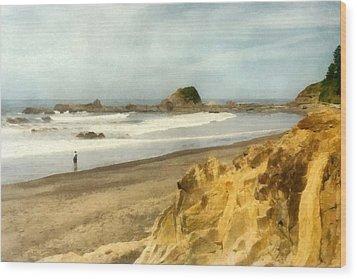 Washington State Seastacks Wood Print by Michelle Calkins