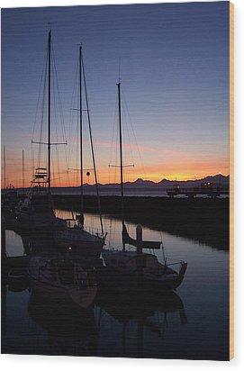 Washington Sunset Wood Print by Michael J Bauer