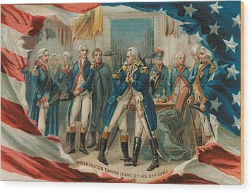 Washington Taking Leave Of His Officers Wood Print by Anonymous