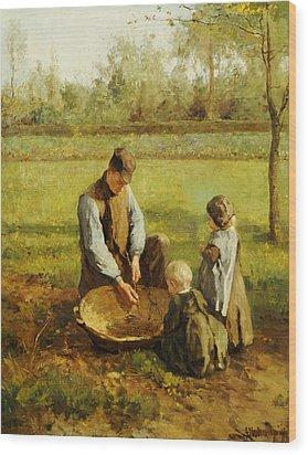 Watching Father Work Wood Print by Albert Neuhuys