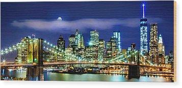Watching Over New York Wood Print by Az Jackson