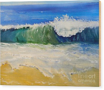 Watching The Wave As Come On The Beach Wood Print by Pamela  Meredith