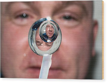 Wood Print featuring the photograph Water Droplet On The Iss by Science Source