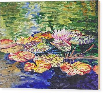 Water Lilies Wood Print by Irina Sztukowski