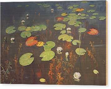Water Lilies Wood Print by Isaak Ilyich Levitan