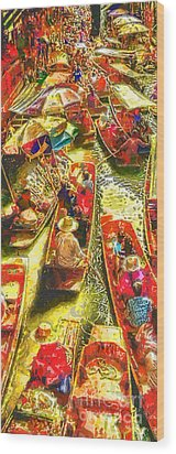 Water Market Wood Print by Mo T